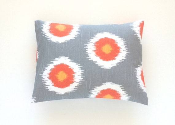 Orange Ikat Dots Throw Pillow Cover