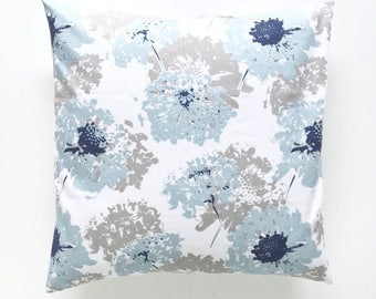 """Floral """"Fairy"""" Pillow Cover. Navy and Ligth Blue. Pillow Covers. Decorative Pillow. Floral Pillow. Blue Pillow Cover. Navy Pillows."""