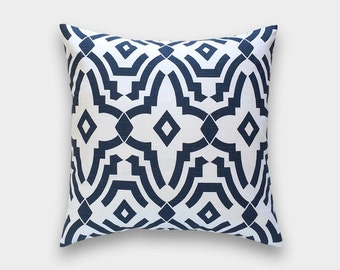 Navy Blue Chevelle Decorative Pillow Cover. Geometric Lattice. Choose from 10 Sizes. Premier Navy Cushion Cover.