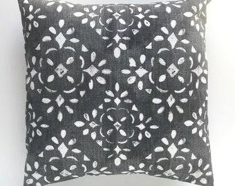 Sable Dark Gray Avila. Grey Pillow Cover. Boho Pillow Cover. Decorative Pillow Cover. 18 X 18 Inches. Throw Pillow Cover. Floral. Farmhouse