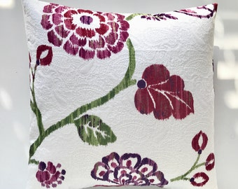 CLEARANCE Purple and Magenta Floral Decorative Pillow Cover. Purple, Pink, and Green. Flower Pillow Cover. Richloom Designer Pillow. Floral.