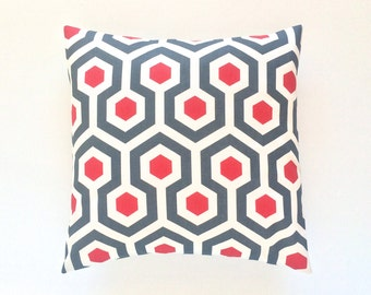 CLEARANCE 50% OFF Red Honeycomb Throw Pillow Cover. Cherry Red  and Charcoal Couch Pillow Cushion Cover