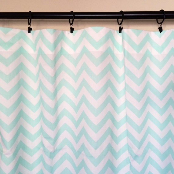 Mint Chevron Curtain Panels Drapery Curtains. Sale READY TO SHIP 50 X 63 Inches Set Window Treatments