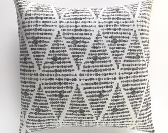 Ink Foster. Grey Pillow Cover. Diamond Pillow Cover. Decorative Pillow Cover. Pick a Size. Throw Pillow Cover. Charcoal Gray. Boho Pillow.