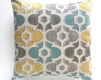 Clearance 50% Off. Florence Evan Pillow Cover. Blues, Browns, Yellow. Retro Pillow Cover. Decorative Pillow. Throw Pillow Cover. Moroccan.