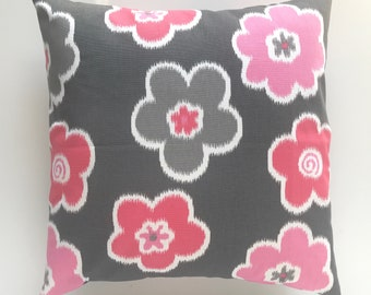 CLEARANCE Flamingo Floral Throw Pillow Cover. 18X18 Inches. Pink, Gray and White. Decorative Pillow Cover. Hot Pink Pillow. Pink Floral.