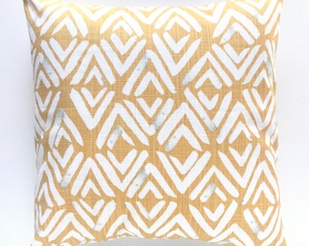 Brazilian Yellow Fearless Pillow Cover. Yellow Throw Pillow Cover. Shibori Decorative Cushion Cover. Modern Pillow. 18X18 Inch. Yellow.