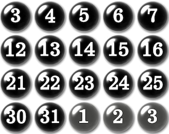 Glass Black and White Numbers | Planner Numbers |  Black Calendar Magnets |  Teacher Planning | Dry Erase Calendar