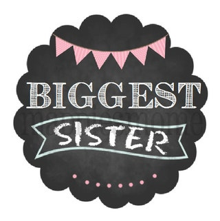 Biggest Sister DIY Iron on T shirt Transfer Decal - Chalkboard Banner Pink