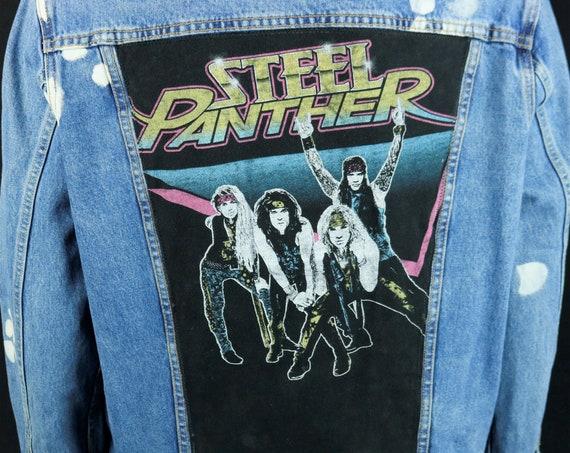 Steel Panther Levis Denim Jacket Blue Glam Heavy Metal Bleach Distressed LARGE