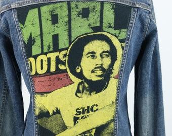 3074238e15b Bob Marley Denim Jacket Blue Trucker Reggae Roots Womens Medium