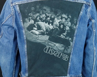 998511cf9e7 The Doors Denim Jacket Jim Morrison VTG Blue Jean Trucker Made in USA MEDIUM