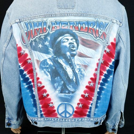 Jimi Hendrix Levis Denim Jacket Blue Jean Tie Dye American Flag  Mens XLarge