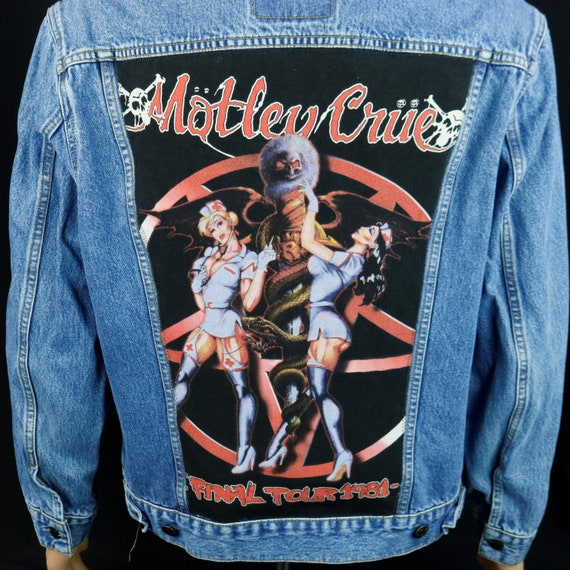 Motley Crue Levis Denim Jacket Tommy Lee Blue Jean Final Concert Tour Mens Large
