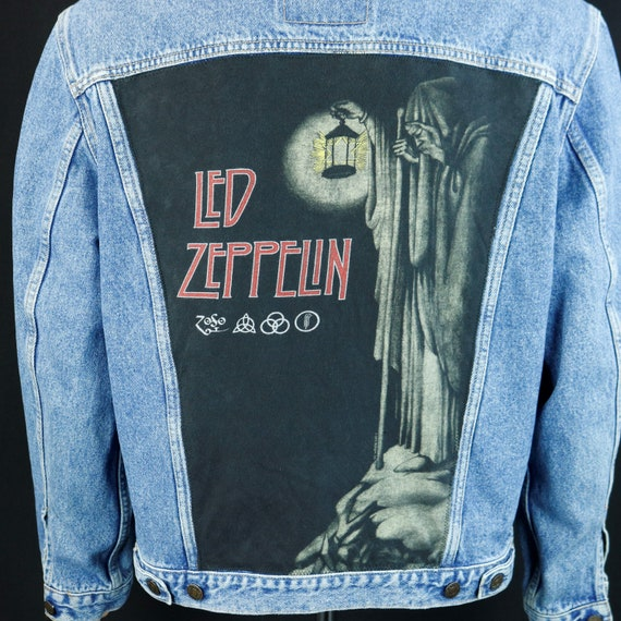Led Zeppelin Levis Denim Jacket ZOSO Blue Jean Trucker Robert Plant Jimmy Page Mens Large