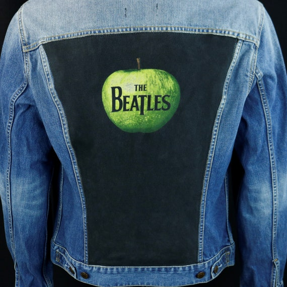 The Beatles Levis Denim Jacket Apple Logo Blue Jean Mens Medium