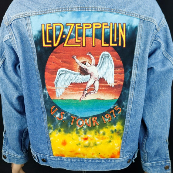 Led Zeppelin Levis Denim Jacket 1975 US Tour Blue Jean VTG Made USA Mens Medium