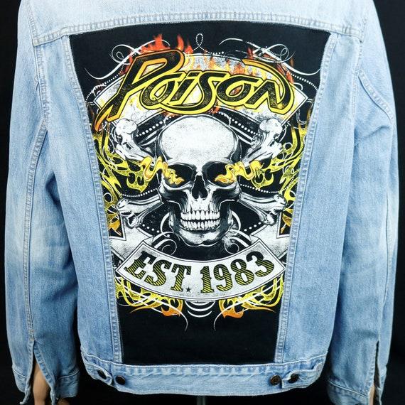 Poison Band Levis Jacket Blue Jean Denim Skull Est 1983 Bret Michaels Mens Large