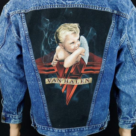 Van Halen Levis Denim Jacket Blue Jean Red Tab VTG Made in USA Womens Small