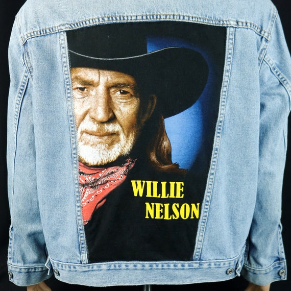 Willie Nelson Levis Denim Jacket Blue Jean Trucker Upcycle Mens Large