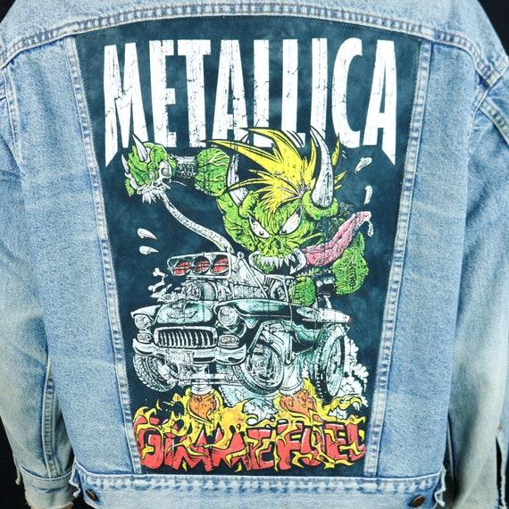 Metallica Levis Denim Jacket Blue Jean Distressed Gimme Fuel Made USA Men XLarge