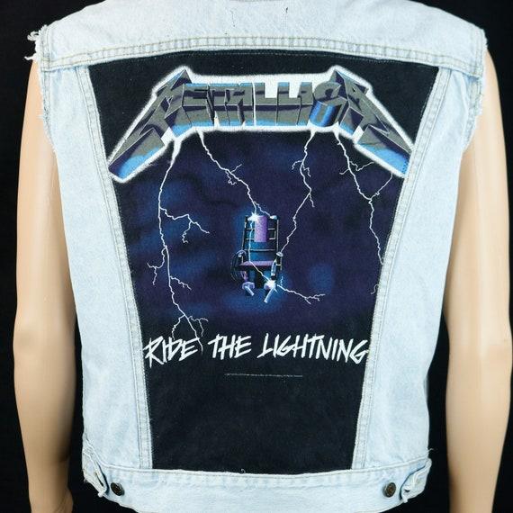 Metallica Levis Denim Jacket Vest Blue Jean Ride the Lightning Mens Medium