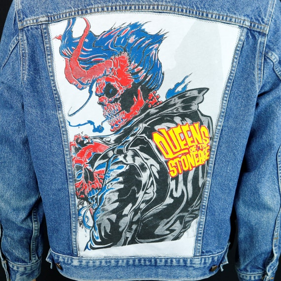 Queens of the Stoneage Levis Denim Jacket Blue Jean VTG Made in USA Sz 44 Medium
