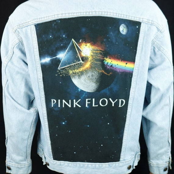 Pink Floyd Levis Denim Jacket Light Blue Jean Dark Side of the Moon MEDIUM