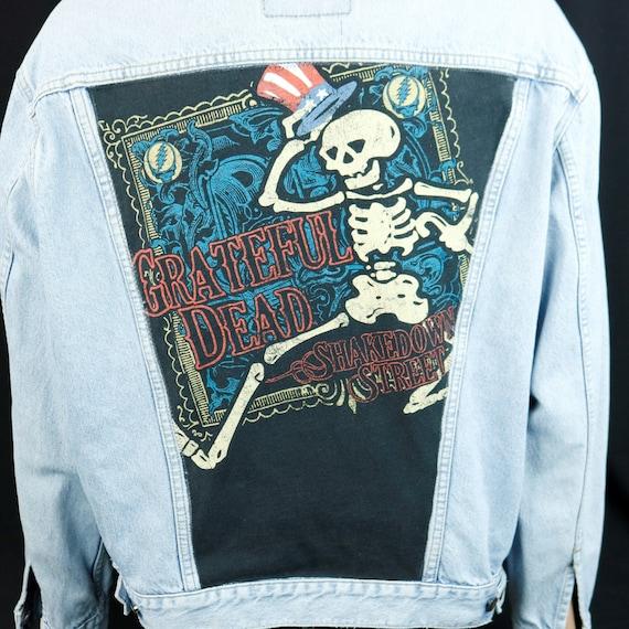 Grateful Dead Levis Denim Jacket Blue Jean Shakedown Street Upcycle Mens XLarge