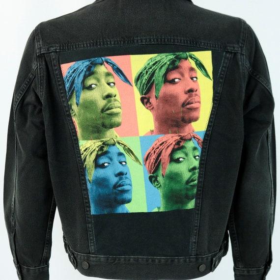 TUPAC Levis Denim Jacket 2Pac Shakur Blue Jean Red Tab Andy Warhol Mens Small