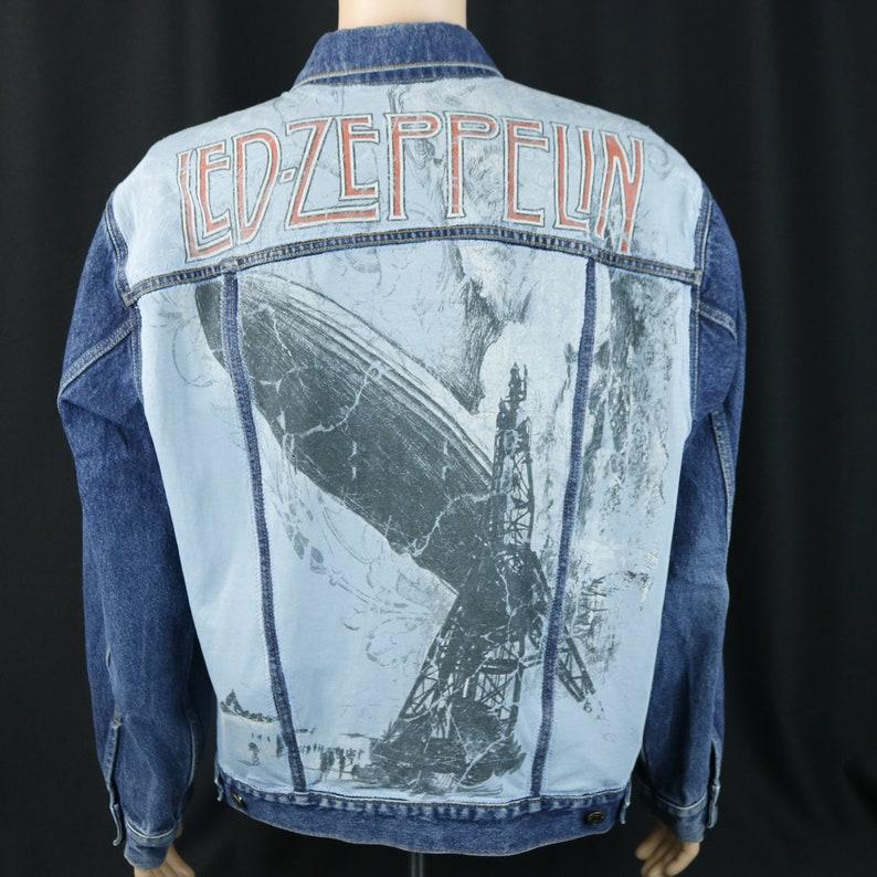 2fec239961 Led Zeppelin Levis Denim Jean Jacket Zoso Blue Trucker Mens