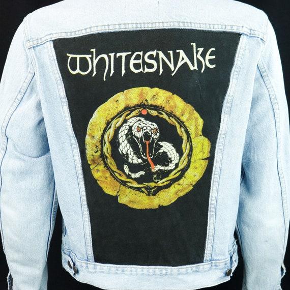 Whitesnake Levis Jacket Light Blue Denim DISTRESSED VTG USA 44 Long Adult Medium
