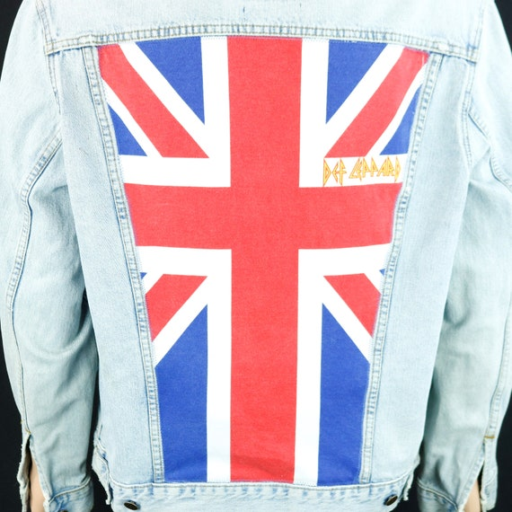 Def Leppard Levis Denim Jacket Union Jack Blue Jean DISTRESSED Mens XLarge
