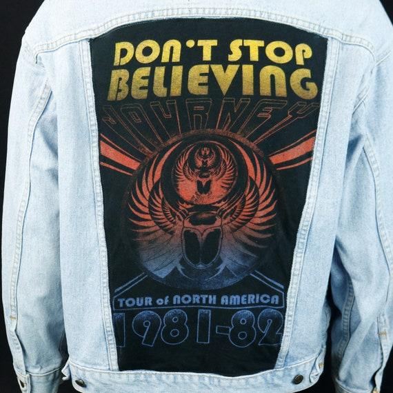 Journey Levis Denim Jacket Band Blue Jean Trucker Dont Stop Believing LARGE