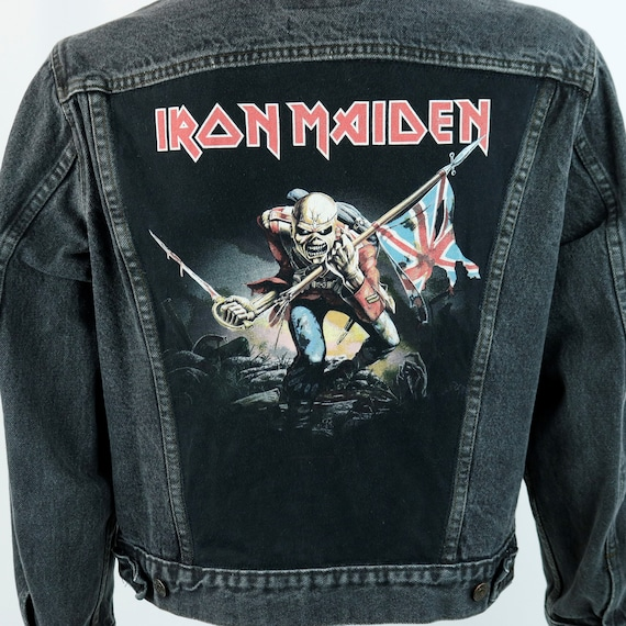 Iron Maiden Levis Denim Jacket Vintage Black Jean USA 44R Mens Medium