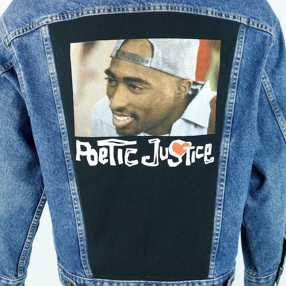 TUPAC Levis Denim Jacket 2Pac Shakur Blue Jean Red Tab Poetic Justice Mens Small