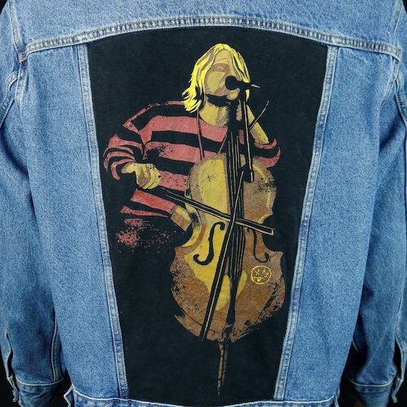 Kurt Cobain Nirvana Levis Denim Jacket Blue Jean Trucker Stand Up Bass Medium