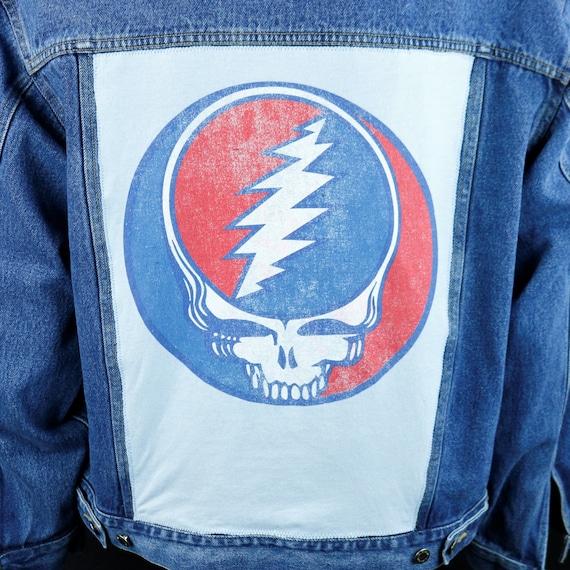 Grateful Dead Wrangler Jacket Steelie Skull Denim Jean Hero Blue Adult XLARGE