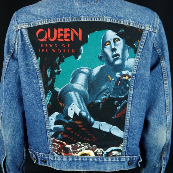 QUEEN Band Levis Denim Jacket Blue Jean Freddie Mercury News of the World Medium