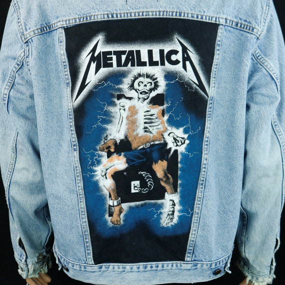 Metallica Levis Denim Jacket Distressed Electric Chair Blue Jean Mens LARGE