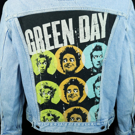 Green Day Levis Denim Jacket Blue Jean Red Tab Trucker Upcycle Mens Large