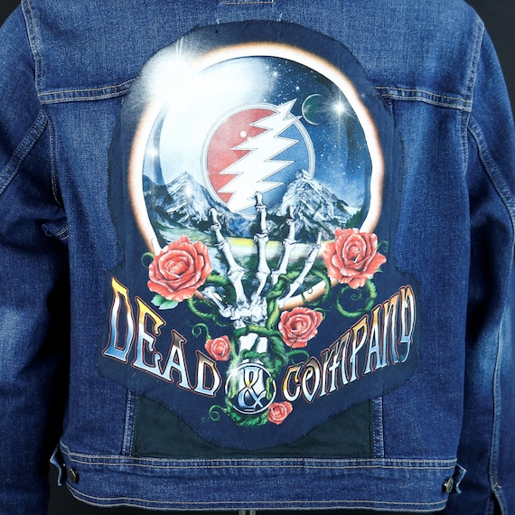Dead and Company Band Denim Jacket Blue Jean Grateful John Mayer Womens XLarge