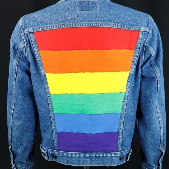 Pride Rainbow Flag Levis Denim Jacket Blue Jean USA Made Upcycle 40 Adult SMALL
