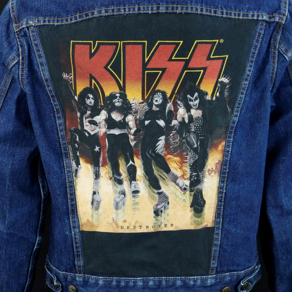 KISS Band Levis Denim Jacket Blue Jean Destroyer VTG USA Size 42 Mens Medium