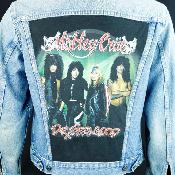 Motley Crue Levis Denim Jean Jacket Dr Feelgood VTG Made in USA Blue Mens Small