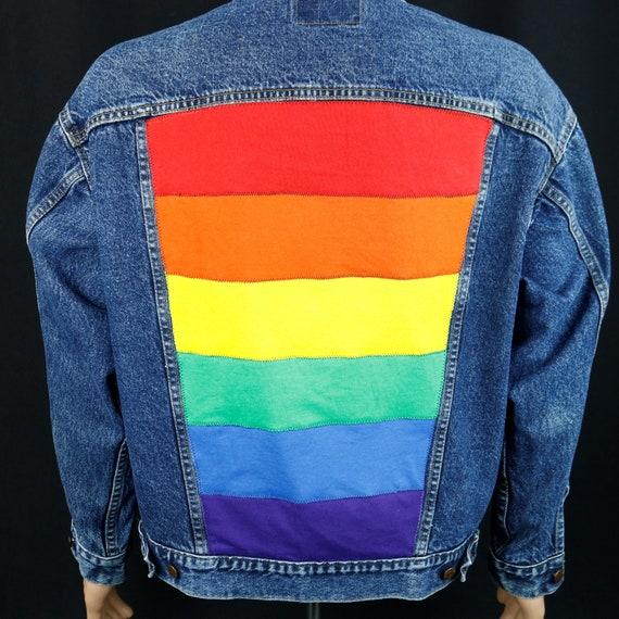 Pride Rainbow Flag Levis Denim Jacket Blue Jean Red Tab USA Upcycle Mens LARGE