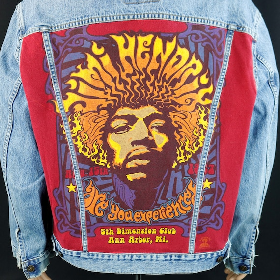Jimi Hendrix Levis Denim Jacket Blue Jean Red Tab Are You Experienced Mens 2XL