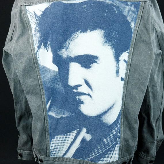 Elvis Presley Levis Gray Denim Jacket Blue Jean Red Tab Upcycle Adult 2XL