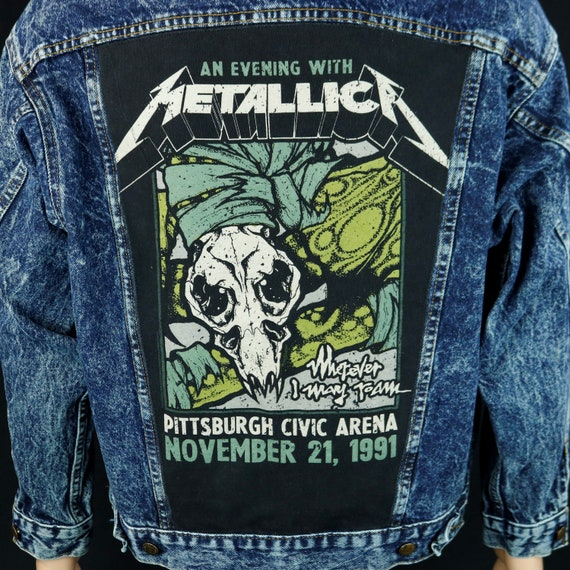 Metallica Levis Denim Jacket Civic Arena Pittsburgh Blue Jean Stone Wash Medium