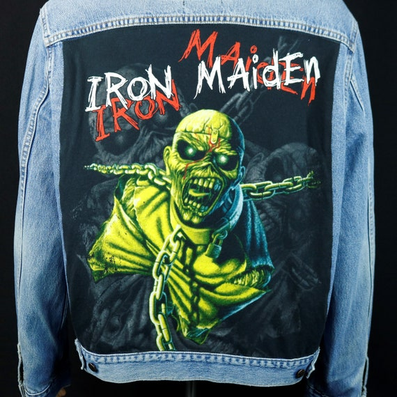 Iron Maiden Levis Denim Jacket Blue Jean Red Tab Upcycled Distressed Mens XLARGE